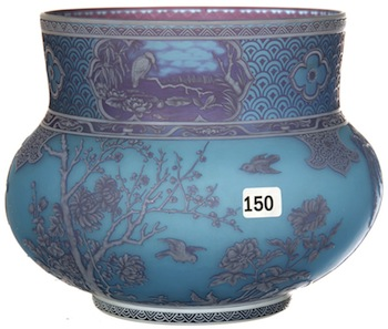 Signed Thomas Webb & Sons gem cameo three-color vase with three panel scenes ($35,000).