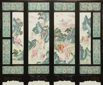 Large 19th century Chinese porcelain screen consisting of four panels, overall 38 ½ inches by 46 ¾ inches (est. $30,000-$40,000).