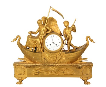 French Chronos and Amour (Father Time and Love) silk thread figural mantle clock in gorgeous gilt bronze finish (est. $15,000-$25,000).