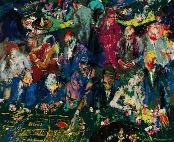 LeRoy Neiman  Early 1958 enamel and acrylic on board by LeRoy Neiman (Am., 1921-2012), titled The Gambling Set ($162,000).