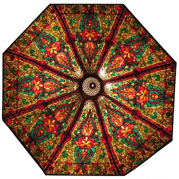 Large and beautiful 8-foot leaded glass 8-panel ceiling dome, the panels having serpentine form (est. $10,000-$15,000).