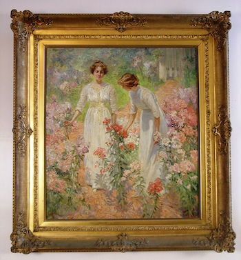 Circa-1900 oil painting by Hamilton Hamilton (1847-1928), depicting the artist's daughters.
