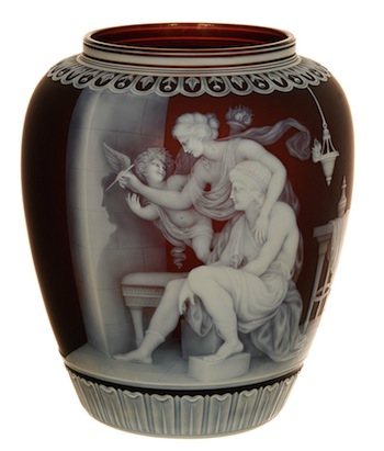 This signed Thomas Webb & Sons finely carved English cameo art glass vase soared to $260,000.