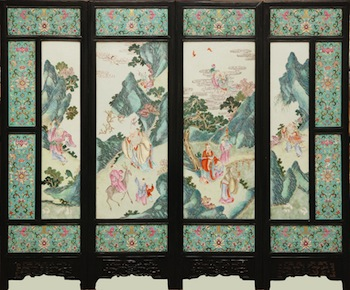 Large 19th century Chinese porcelain screen with four famille rose panels, mounted in a carved wooden frame ($126,900).