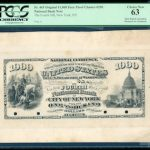 ORIGINAL $1,000 FACE PROOF CHARTER #290 U.S. NATIONAL BANK NOTE, ONE OF ONLY TWO KNOWN, REALIZES $96,050 AT  PHILIP WEISS AUCTIONS' MAY 29 SALE