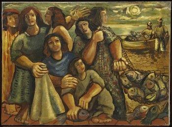Oil on canvas figural rendering by the renowned Brazilian artist Emiliano di Cavalcanti, titled Pescadores (est. $150,000-$250,000).