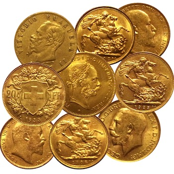 The 11 gold coins in the auction will include British Sovereigns (circa 1800-1830) and a 1978 Krugerrand.