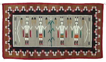 Museum-quality Navajo rug (or weaving), made around the 1940s, 45 inches by 81 inches (est. $10,000-$20,000).