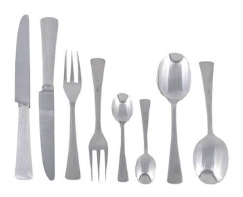 silver court pattern table service for 12