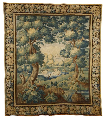 Late 17th or early 18th century Flemish verdure tapestry, measuring 104 inches by 90 inches