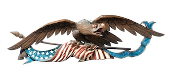 Folk Art Eagle Plaque by Peter Libbey, (Maine, B. 1944). Estimate $2,500-4,500