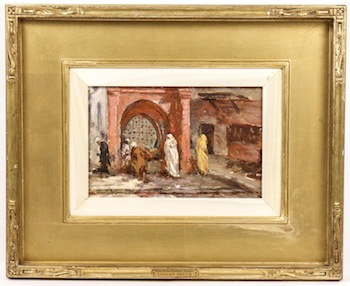 Signed oil on board by Lillian Mathilde Genth (Am., 1876-1953), titled Oldest Water Fountain, Tangier (est. $2,000-$4,000).