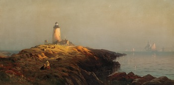 A strong candidate for top lot of the auction is this painting by the British-born Hudson School artist Edward Moran (1829-1901), titled Cape Ann Lighthouse (est. $150,000-$250,000).