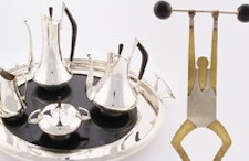'Circa 70' silver and ebony four-piece tea and coffee service with tray, by American artist Donald Colflesh (b. 1932-), dates to circa 1958. Material Culture image