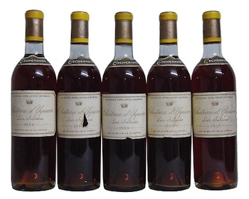 Five bottles of the Chateau d'Yquem 1959 Sauternes