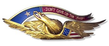 """""""Don't Give Up the Ship"""" 28-inch-long by 9-inch-tall carved eagle made around the turn of the century by William Shephard of Mystic, Conn."""