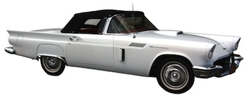 Beautifully restored white 1957 Ford Thunderbird with just 769 miles on the odomoter for the 312 c.i. rebuilt V8 motor (est. $30,000-$40,000).