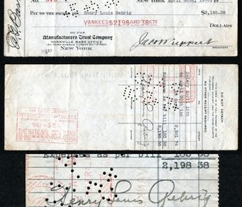 1930 PAYCHECK FOR NEW YORK YANKEE GREAT LOU GEHRIG, SIGNED BY HIM,  IS A HIT FOR $22,600 AT PHILIP WEISS AUCTIONS' BIG SEPTEMBER 30th AUCTION