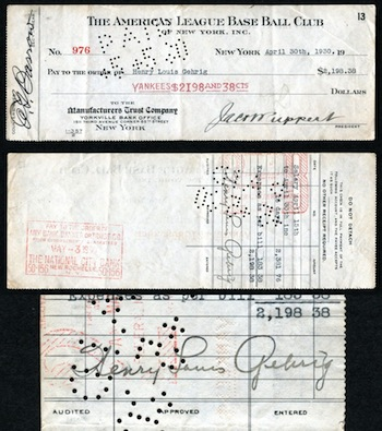 Paycheck from 1930 issued to New York Yankees legend Lou Gehrig, endorsed on the back by him ($22,600).