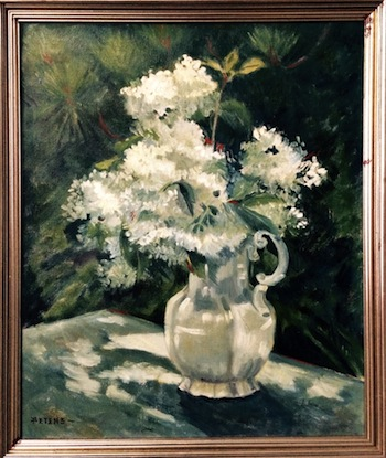 More than 40 paintings by Lucy Mustin Peters, including this lovely oil on canvas still-life, will be sold.