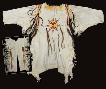 Beautiful hand-crafted white buckskin men's Mandan war shirt and matching leggings, circa early 1900s (est. $2,500-$5,000).