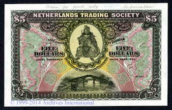 BEAUTIFUL NETHERLANDS TRADING SOCIETY $5 COLOR TRIAL SPECIMEN HITS $9,195 AT ARCHIVES INTERNATIONAL AUCTIONS' THIRD HONG KONG AUCTION