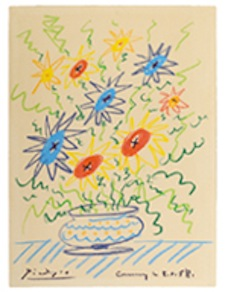 Pablo Picasso (Spanish, 1881-1973), 'Bouquet de Provence,' crayon paper, artist-signed and inscribed 'Cannes le 8.4.58,' crayon on paper, 14½ x 10½ inches, offered with full provenance and Picasso-signed photo certificate. Est. $200,000-$300,000. Image: Auction Gallery of the Palm Beaches