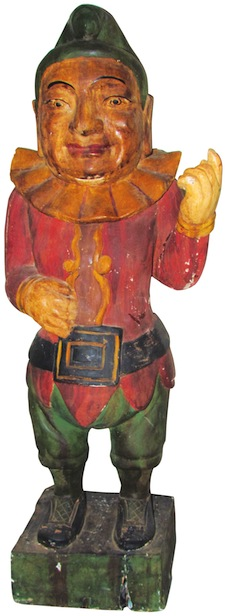 19th century Punch cigar store wood figure, 69 ½ inches tall and with a contemporary base ($102,600).