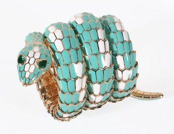 A turquoise and white enamel 'Serpenti' watch by Bulgari