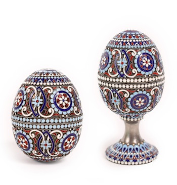 Two Russian Faberge Workmaster silver and enamel eggs by Mikhail Perkhin (Faberge cufflinks will also be sold).