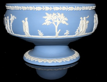 Collectibles will include Wedgwood (like this compote), Belleek, Lenox, Lefton and Jasperware.