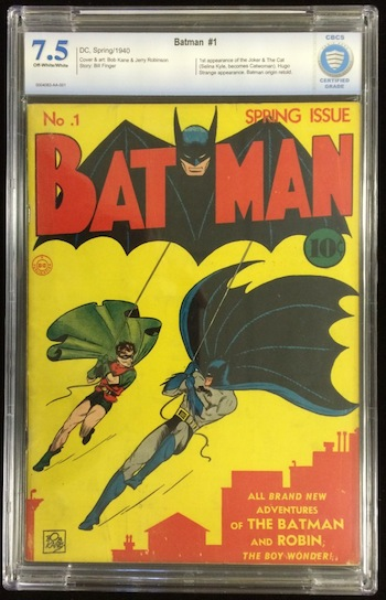 This copy of Batman No. 1, from spring 1940 and graded 7.5 out of 10, could bring $100,000 or more.