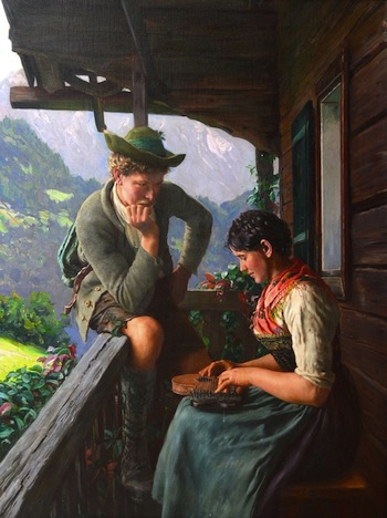 Oil on canvas by the German painter Emil Rau (1858-1937), titled Tyrolean Couple with Chalet and Mountainous Landscape (est. $3,000-$5,000).