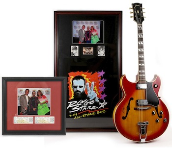1968 Gibson Barney Kessel Cherry Sunburst hollow body electric guitar signed by Ringo Starr.
