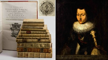 Large 1756 folio book, with a bookplate from the Borghese family library, titled 'Tibaldi E'Abbiti,' includes Giampietro Zanotti illustrations of original paintings by Pellegrino Tibaldi and Niccolo Abbati that are held in the collection of the Instituto di Bologna; (at right) oil portrait of 17th-century Italian knight in armor and with sash Maltese Cross, 28.7 by 23.2in. Myers Fine Art image