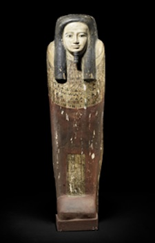 Circa 664-332 BC Egyptian polychrome-painted wood sarcophagus from Late Dynastic Period, displays hieroglyphic text, COA from Samuel Haddad Works of Art, NY; acquired from government of Anwar Sadat in 1970s. Est. $80,000-$100,000. Ancient Resource image