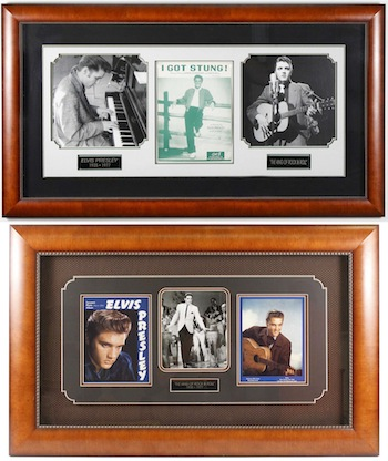 Framed collection of Elvis Presley memorabilia and autographs, including a Presley-signed copy of the sheet music for I Got Stung! ($5,000).