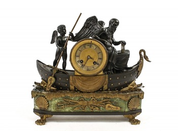 French 19th century Chronos (time) and Amour (love) parcel gilt bronze mantle clock with allegorical figures.
