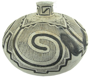 Large, beautiful and prehistoric Anasazi back-on-white pottery jar (or olla), found in Tularosa, N.M. (est. $10,000-$20,000)