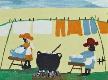 Oil on board painting by the noted Louisiana artist Clementine Hunter (1887-1988), titled Wash Day (est. $2,500-$3,500), accompanied by a snapshot of Clementine holding this painting after the purchase.