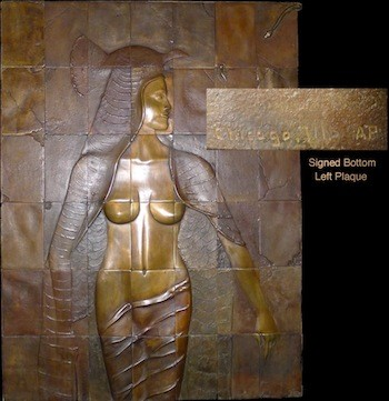 """Bronze depiction of an Egyptian princess cast in 42 plaques, overall 52 inches tall by 39 inches wide, signed """"Chicago, Ill., AP."""""""