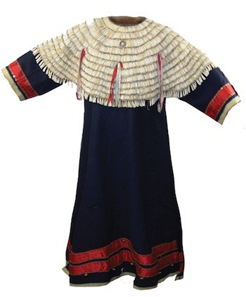 Rare Sioux 12-row fully covered, removable shell yoke with canvas; a dentalium and tradecloth dress, circa 1900 ($7,475).