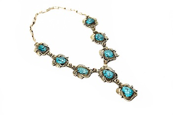 Gold & turquoise necklace by Andy Lee Kirk is among a group of Native American jewelry to be sold March 12 at Garth's (Delaware, Ohio).