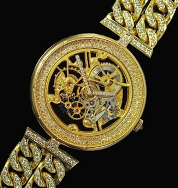 A unique and impressive 18 carat gold and diamond gentleman's skeleton wristwatch by the Swiss luxury watchmaker Corum