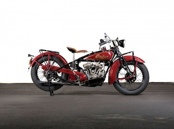 1928 Indian Scout: The Indian Scout first came out in 1920; the one in the sale is this 1928 Scout 101, introduced a year earlier and an instant hit with the public, thanks to its power and agility.