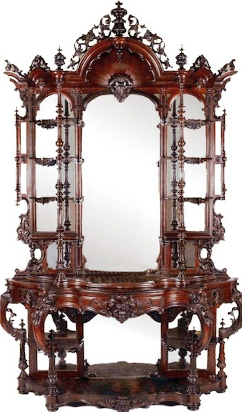 Rare, museum-quality rosewood rococo étagère with a bonnet top, made by 19th century American furniture maker Thomas Brooks ($63,250).