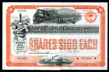 Stock certificate for 10 shares in The New Jersey Central Railroad Company, at $100 a share.
