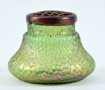 Kralik  Martele Bohemian rose bowl, iridescent green, 3 ½ inches tall.