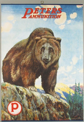 Extremely rare Peters Ammunition poster depicting a bear on a mountain, framed under glass ($12,540).