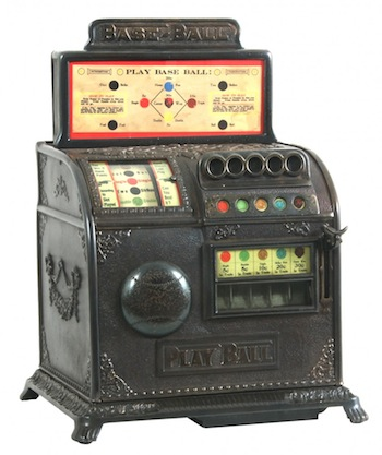 Caille Brothers Co. (Detroit) one-cent coin-operated baseball trade stimulator, single reel type with five payout slots (est. $12,000-$15,000).